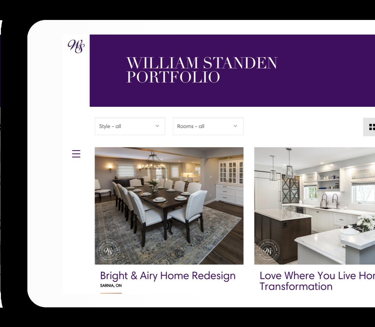 William Standen Tablet Portfolio Index Page