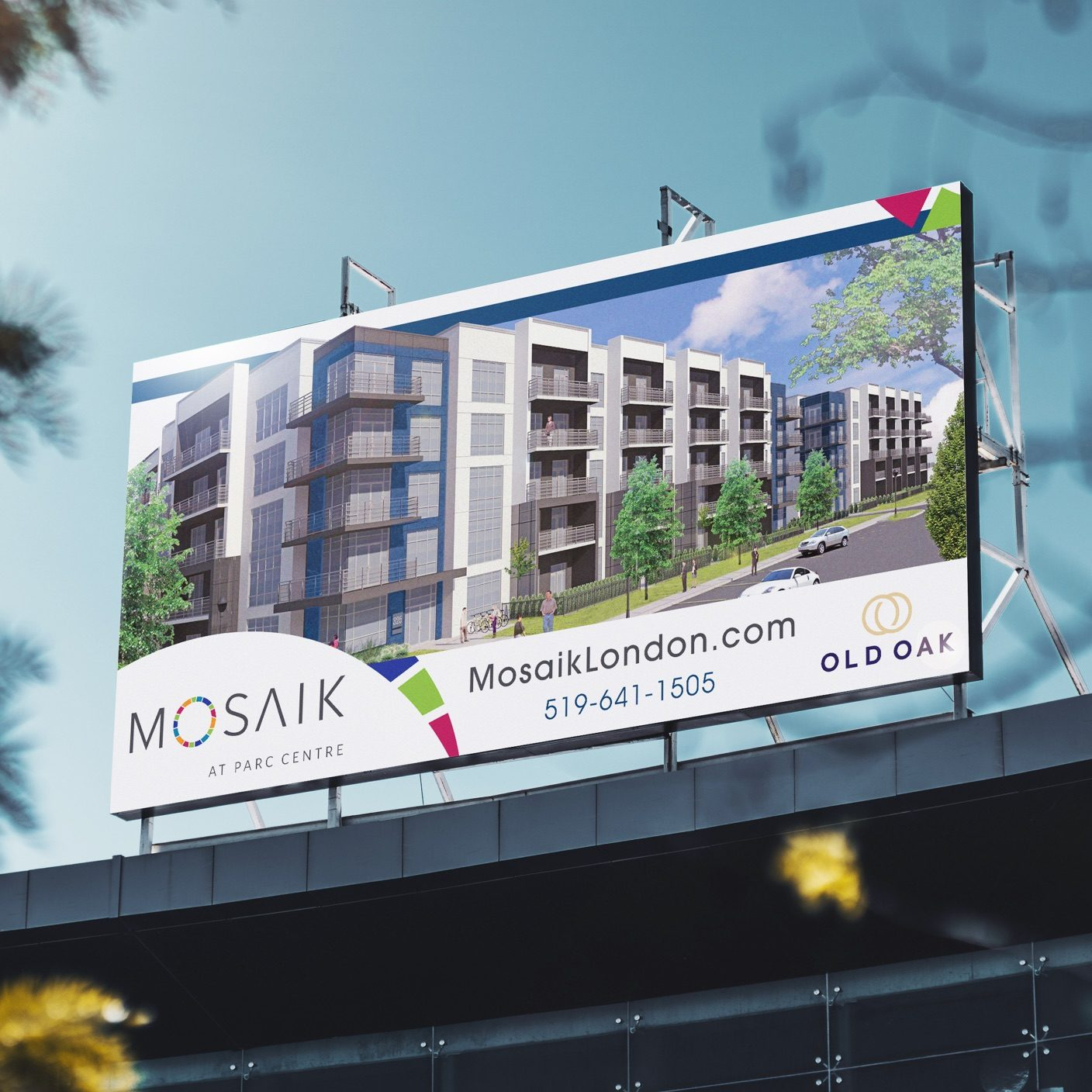 Old Oak billboard showing the apartment buildings,
