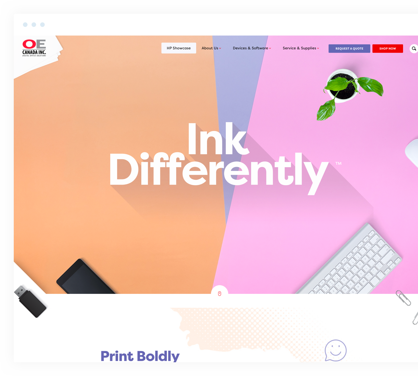 Ink differently home page loaded on a desktop browser