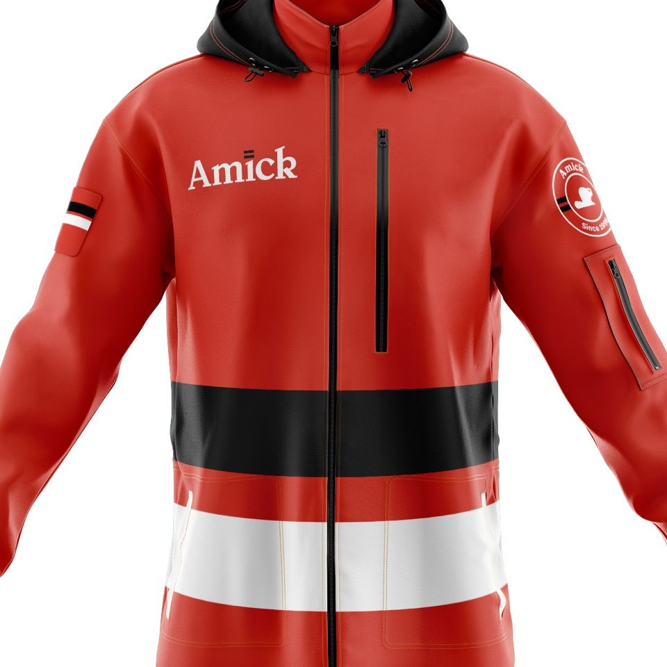 Amick logo on a red jacket with white and black accents
