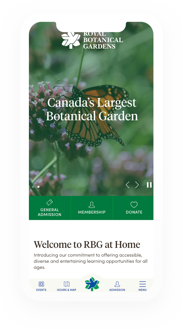 Canada's Largest botanical gardens website loaded on a mobile phone