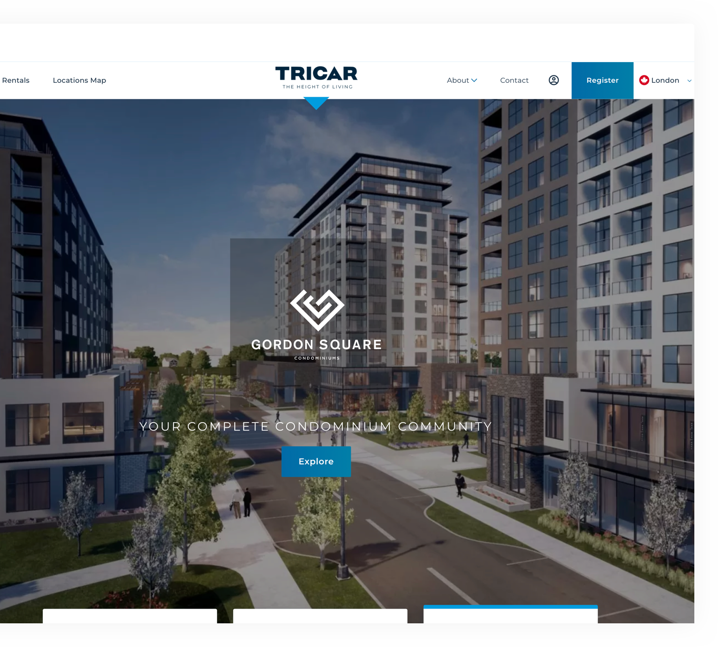 Tricar home page loaded on a desktop web browser, showing apartment buildings on a street view