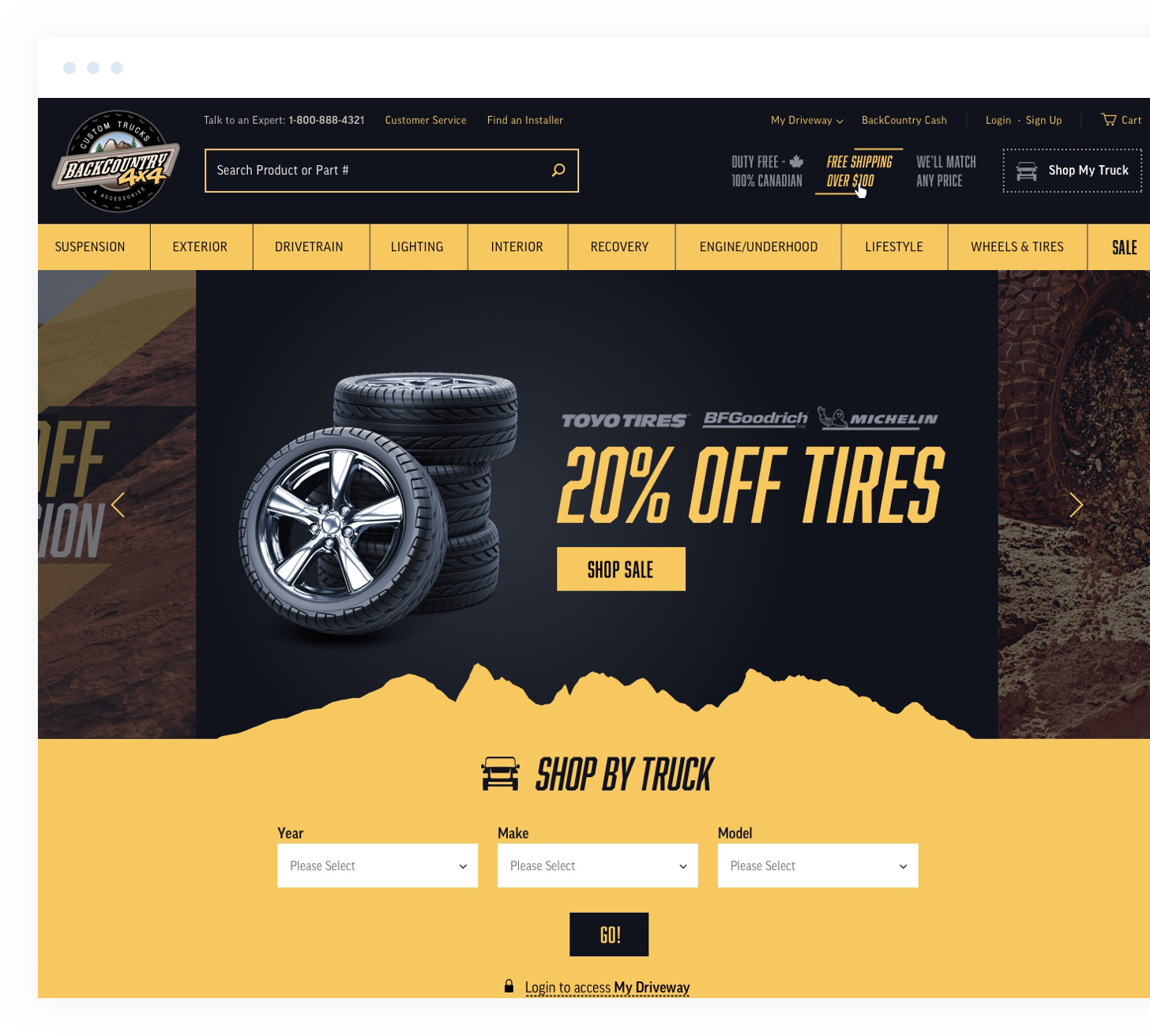 Back Country main page loaded, with the 20% off tires promo visible