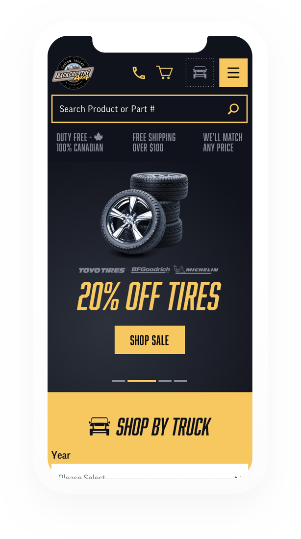20% off tires ad loaded on a mobile