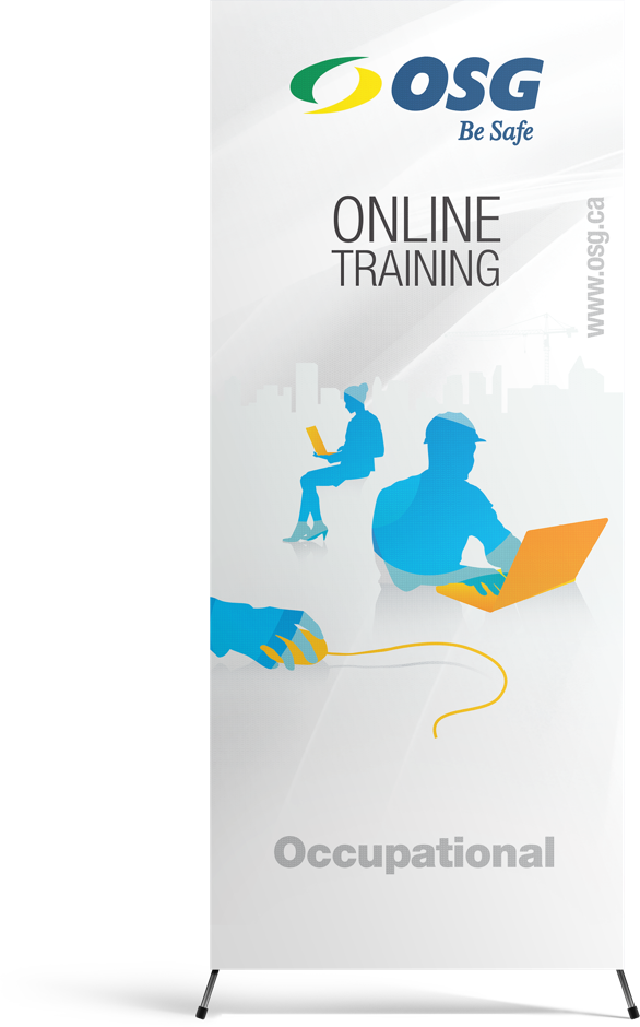 OSG Be Safe, Online Training Pull-Up Stand-Up Banner with graphics of people using technology