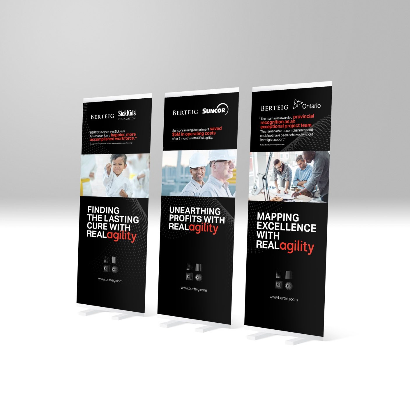 Three Berteig Pull-Up Stand-Up Banners