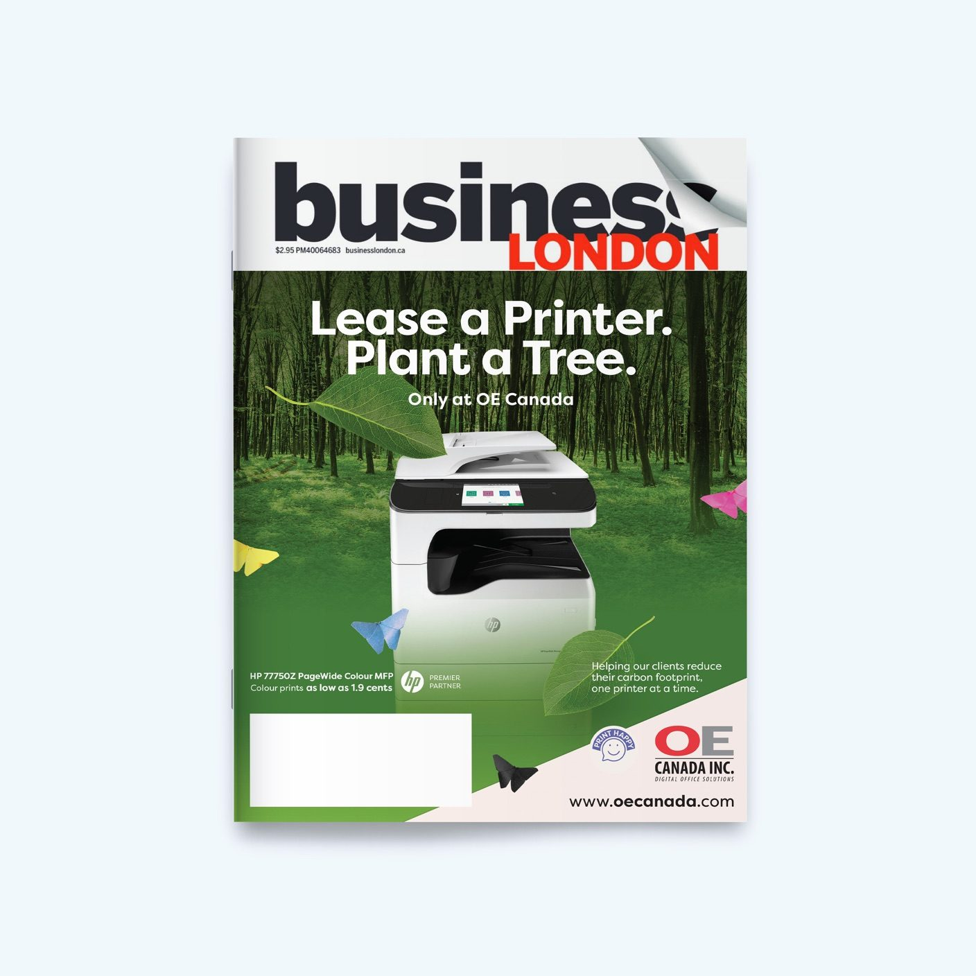 Business London Magazine with the front cover showing an OE Canada Advertisement with an industrial printer with a scenic background