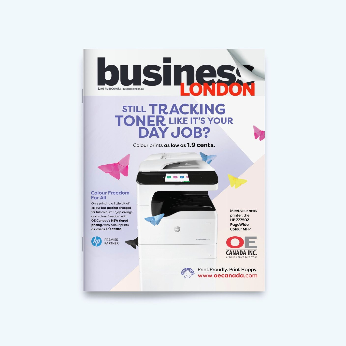Business London Magazine with the front cover showing an OE Canada Advertisement with an industrial printer