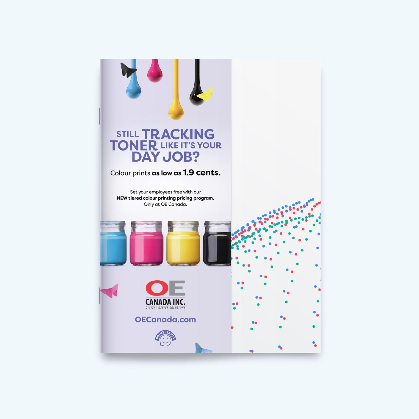 Column OE Canada ad on the front cover of a magazine, showing yellow, pink, blue and black ink in jars