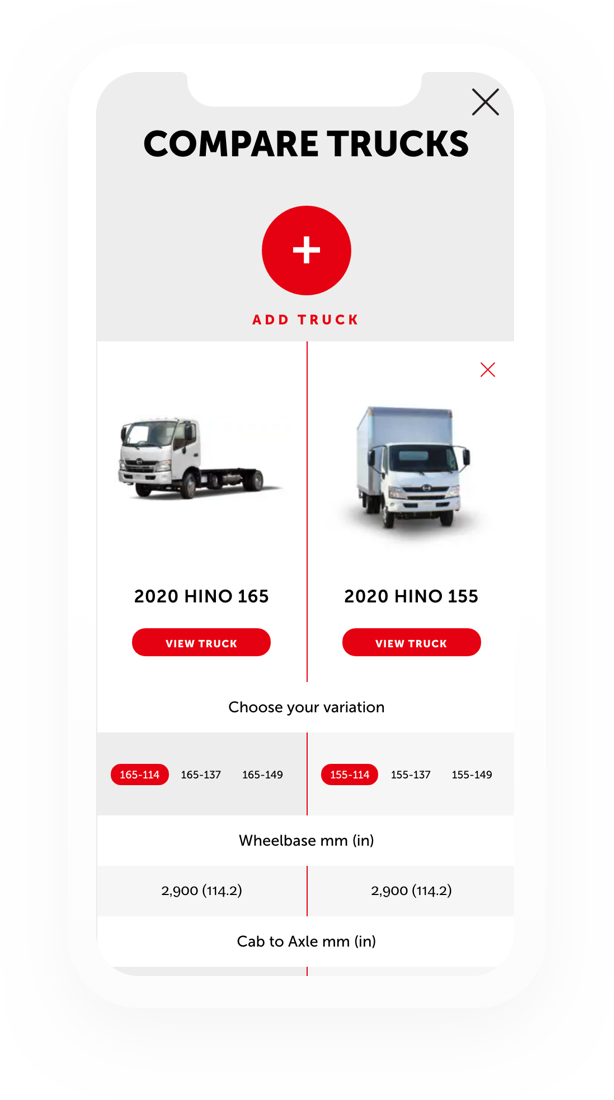 Display of Hino Motors' function to Compare Trucks on a mobile
