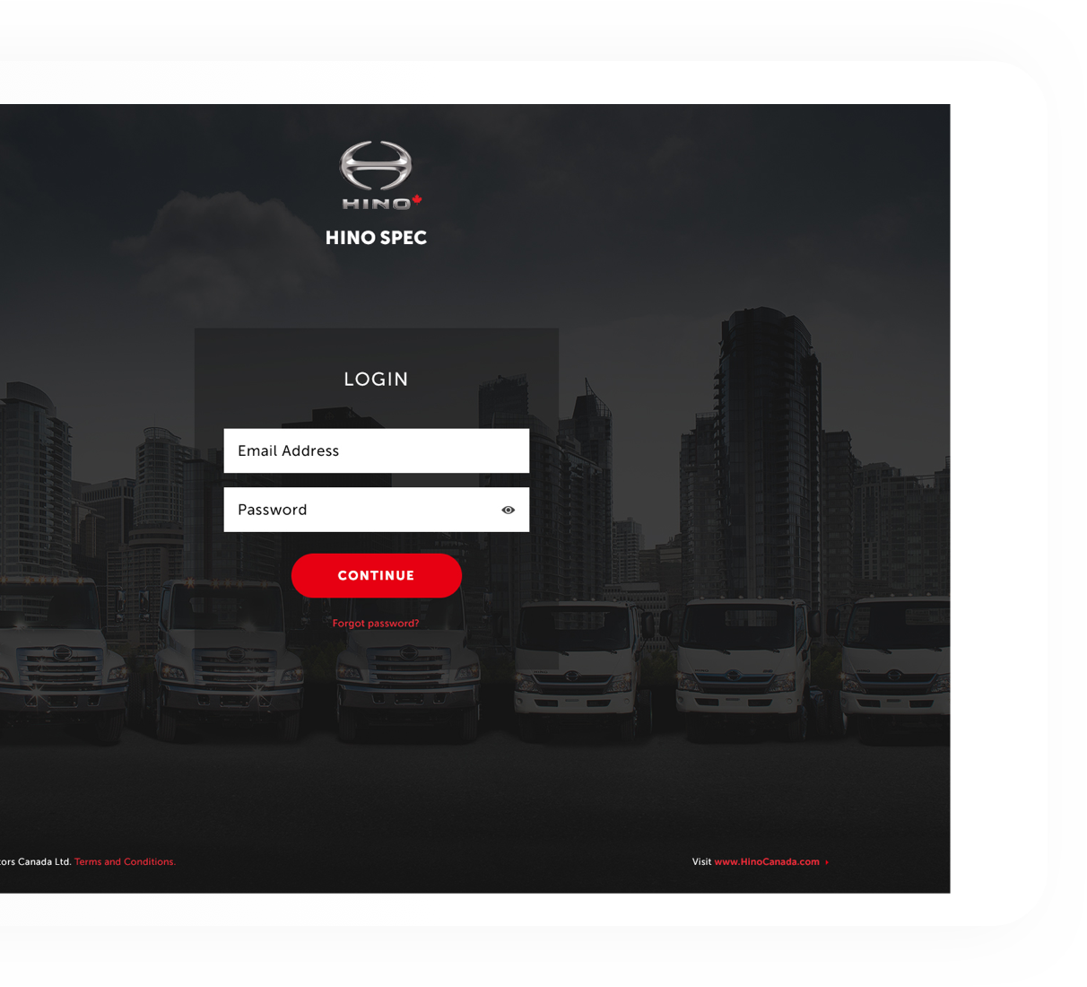Hino Motors website loaded on the desktop to show the login page