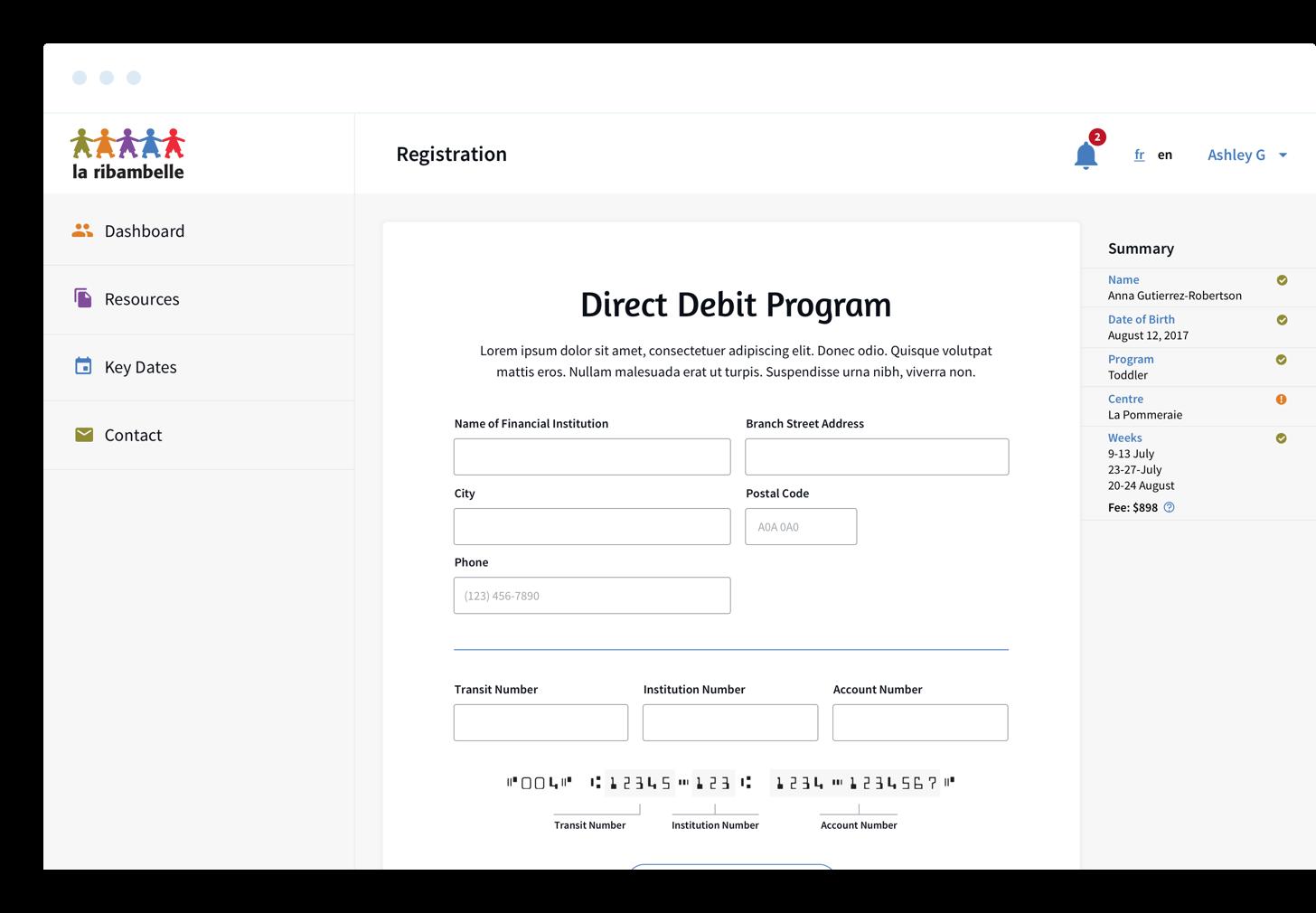 La Ribambelle registration form loaded on a desktop browser