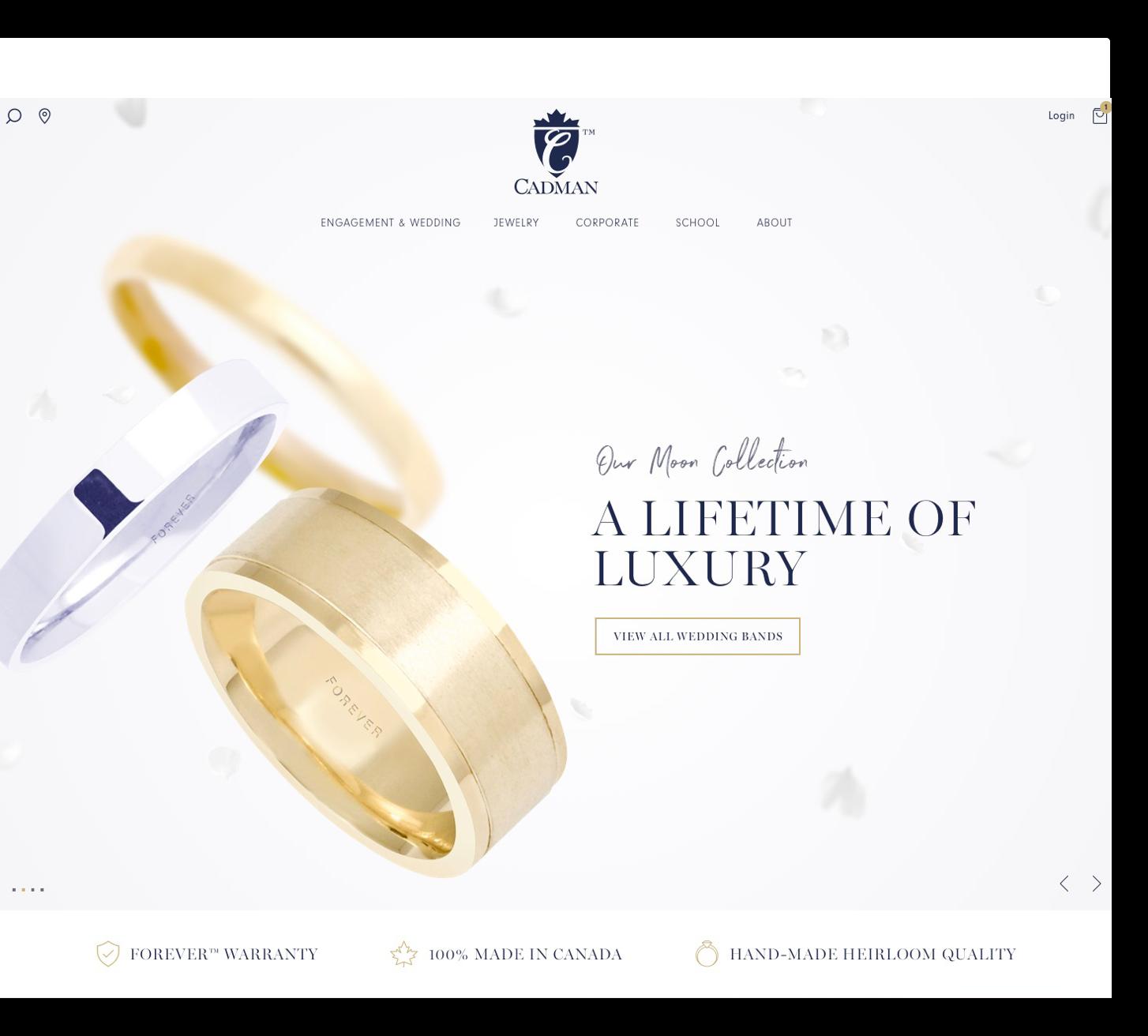 Cadman's luxury jewelry website layout