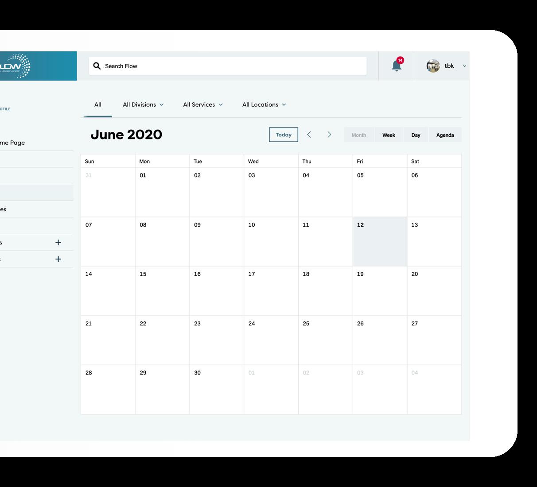 Flow events calendar loaded on a desktop browser, with June 2020 loaded