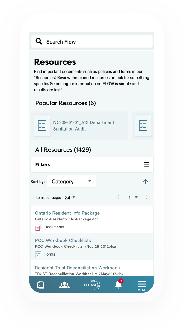 Flow resources page loaded on the mobile application