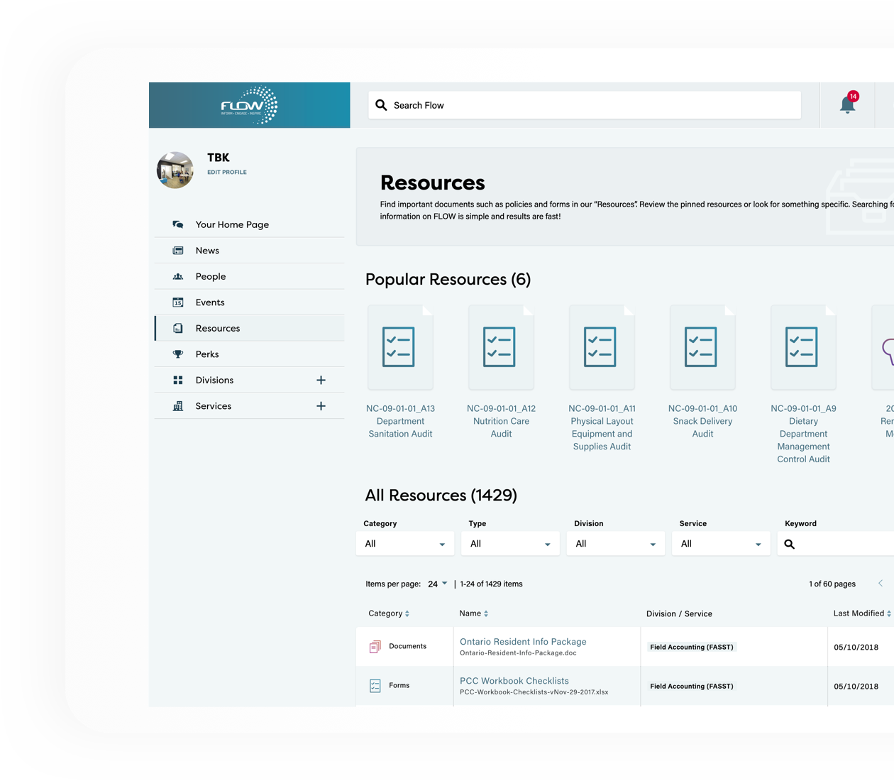 Flow resources page loaded on a website browser
