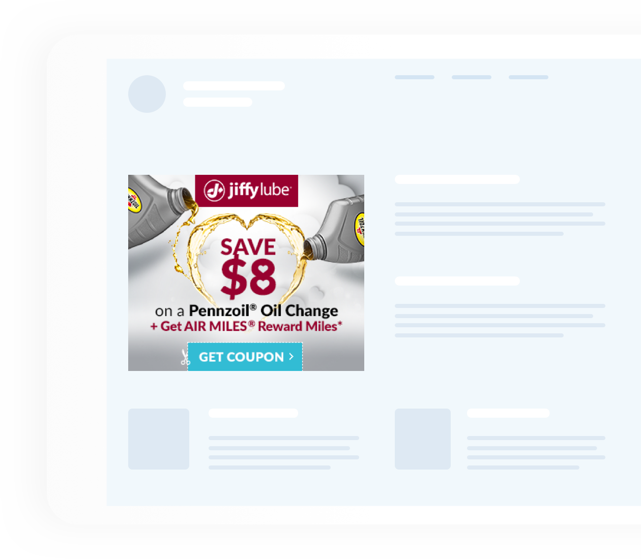 Jiffy Lube save $8 promotion on a website layout