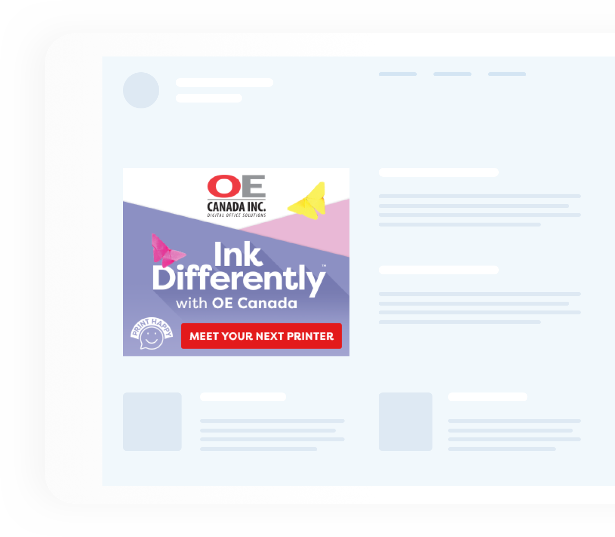 Ink Differently OE Canada Advertisement on a website template