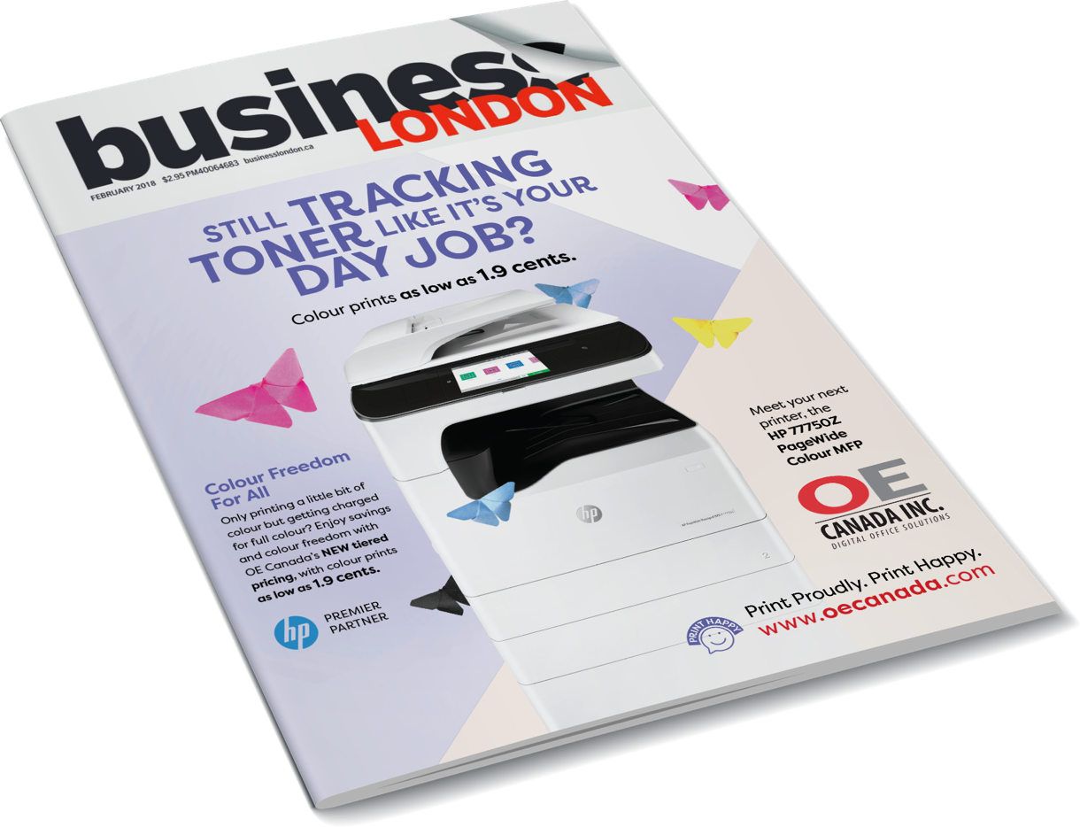 Business London Magazine front cover showing an OE Canada Canada with a printer